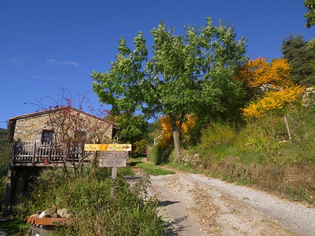 L'arrivée à la ferme des Genêts, à Arlebosc , 07410,Ardèche. .
