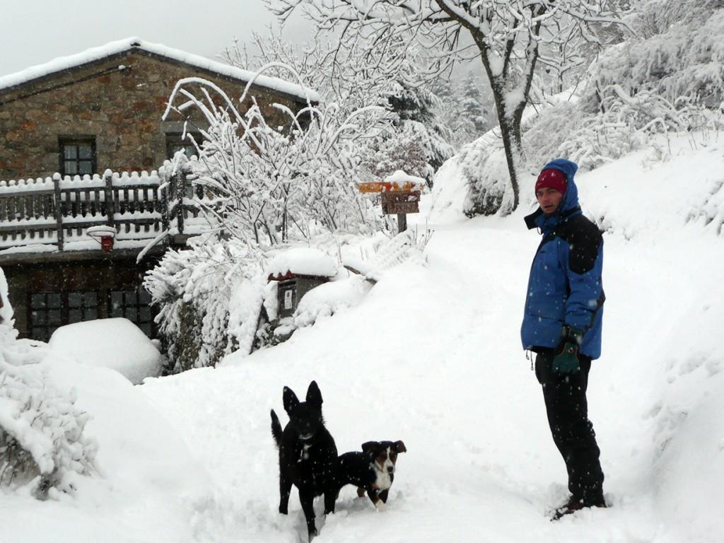 Un jour de neige à la ferme des Genêts, à Arlebosc ,07410, Ardèche.